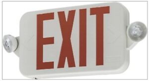 Exit Sign Emergency Lighting Combo Contractor Select White Red Integrated Led