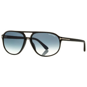 Tom Ford Ft0447 01p Sunglasses Shiny Black Gradient Green Lens New Authentic