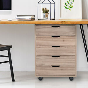 Practical 5 Drawers Mdf With Pvc Wooden File Cabinet Home Office Mobility