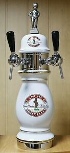 Rare Ceramic Draft Beer Tower With Two Taps Blanche De Bruxelles