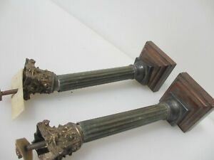 Victorian Brass Clock Hardware Mount Classical Column Antique Old Reeded 7 5 H