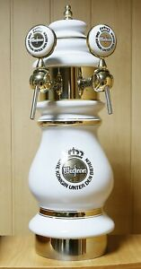 Ceramic Draft Beer Tower With Two Taps Warsteiner