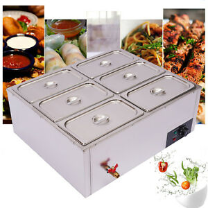 Electric Commercial Food Warmer 6 pan Steamer Stainless Steel Buffet Countertop