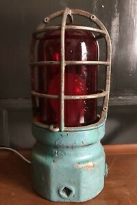 Crouse Hinds Red Glass Explosion Proof Light Vintage Steampunk
