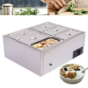 Commercial 6 pan Food Warmer Steamer Stainless Steel Electric Buffet Countertop