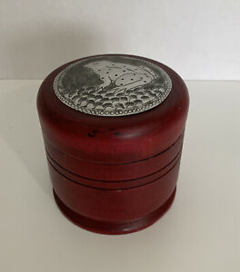 Red Lacquer Wooden Tea Caddy Storage Box Hand Hammered Tin Top Frog Design 4