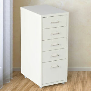 5 Drawer File Cabinet Pedestal Metal Letter Storage Chest Home Office W Wheels