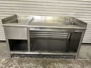 66x30 Heavy Duty Stainless Steel Work Prep Table Sink Combo Station 6486