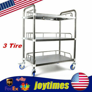 3tiers Trolley Durable Lab Mobile Rolling Serving Cart Stainless Steel Easilyuse