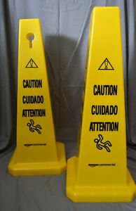 Floor Safety Cone 25 3 4 Inch Caution Multilingual 2 Pack