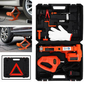3t 12v Dc Automotive Electric Scissor Car Floor Jack Lift With Wrench Impact