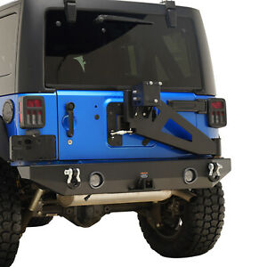 Eag Rear Bumper With Swing Tire Carrier 2 Hitch Recevier Fits 07 18 Jeep Jk