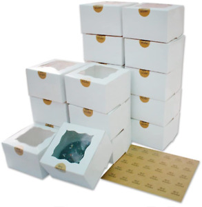 50pcs 4x4x2 5 Inches Bakery Boxes With Window Boxes For Cookies Treat Boxes