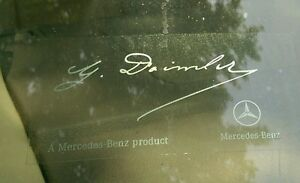 Mercedes Benz Signature Windshield Decal Sticker Silver Text W Clear Background