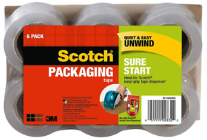 Scotch Sure Start Shipping Packaging Tape 1 88 X 900 6 Pack Great For Packing
