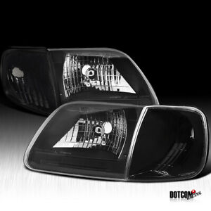 Fit 1997 2003 Ford F150 1997 2002 Expedition Head Lights Corner Lamps Black 4pc