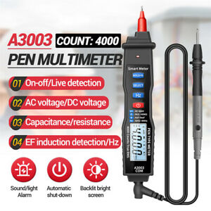 Lcd Digital Multimeter Pen Type Meter 4000 Counts Voltage With Non Contact Ac dc