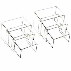 Clear Acrylic Display Risers 2 Sets Of 3 Showcase Shelf For Figures Buffets
