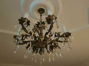 Vintage Victorian Ornate Classic Solid Brass Crystal 6 Lights Chandelier Fixture