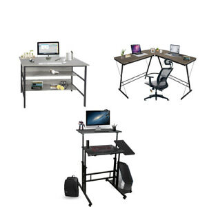 L shaped Computer Office Desk Corner Study Table With Shelves height adjustable