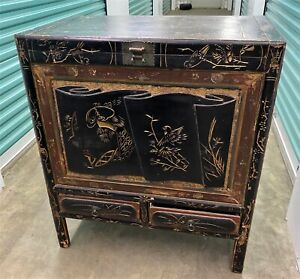 Antique Asian Carved Black Lacquer Cabinet Blanket Dowry Chest We Ship