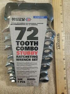 Matco 7 Pc Sae 72tooth Combo Stubby Ratcheting Wrench Set S7grbs7