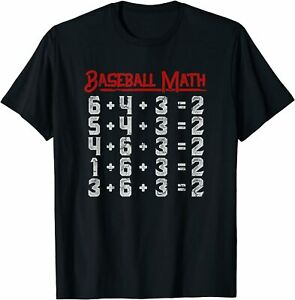 New Limited Baseball Funny Math Double Play T shirt S 3xl
