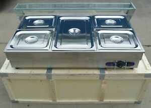New Commercial 110v 5 pan Bain marie Buffet Food Warmer 4 1 2 Pan 1 Full Size Us