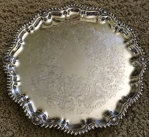 Antique Silver Plate Silverplate Shell Gadroon Embossd Round Salver Serving Tray