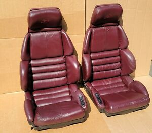 1993 Corvette 40th Anniversary Ed Factory Leather Sport Seats Ruby Red Good Cond