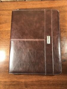 Day timer Classic Zippered Brown Faux Leather Notepad organizer Cover 13 x10