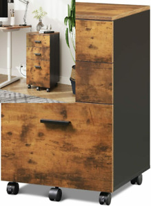 Devaise 3 Drawer Wood Mobile File Cabinet Rolling Filing Rustic Brown