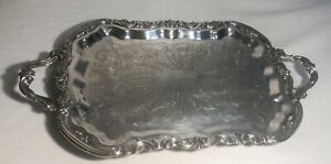 Large F B Rogers Vintage Silver Plated Silverplate Serving Tray 24 W Feet