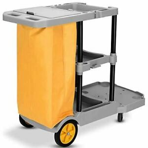 Janitorial Cart Heavy Duty Cleaning Utility Cart Service Cart 3 Shelf