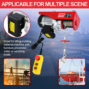 110v Electric Wire Cable Hoist 800kg Winch Lifting Engine Crane Overhead Lift