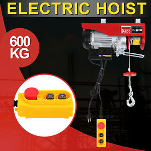 300 600kg Electric Hoist Winch Lifting Engine Crane Hook Hanging Cable Pulley