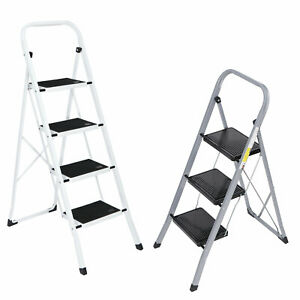3 4 Steps Ladder Folding Anti slip Safety Tread Industrial Home Use 300lbs Load