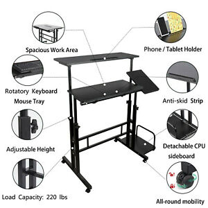Standing Desk Height Adjustable Pc Workstation Home Office Desks With Tray Room