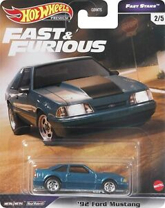 Hot Wheels 1:64 Scale Fast amp; Furious #x27;92 Ford Mustang Diecast Vehicle GRL72 $10.49