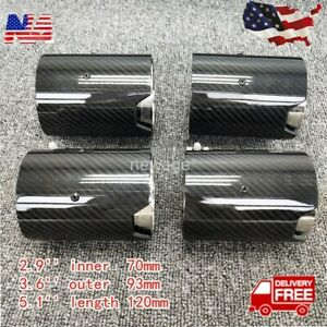 For 2015 2019 Bmw M2 M3 M4 Carbon Fiber Stainless Exhaust Tip Pipe Finishers X 4
