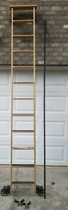 Cotterman Oak Wood Rolling Library Ladder 10ft With Hardware And Rail