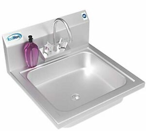Nsf Stainless Steel Commercial Hand Sink W Goosneck Faucet 17 X 15 Wall Mount
