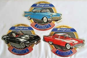 Set Of 3 Snap On Tools Classic Sticker 57 Chevy 57 Thunderbird 63 Vette