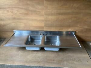 Vtg Mid Century 72 Tracy Stainless Steel Double Basin Old Kitchen Sink 386 21e