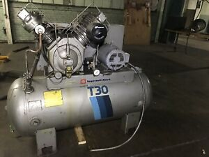 Huge Ingersoll Rand T30 Air Compressor 2 Stage 3 phase 30t 120 Gallon 10hp