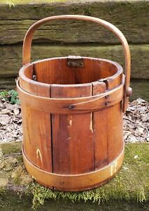 Antique Primitive Wooden Firkin Sugar Bucket Rustic Old Pantry Box With Handle