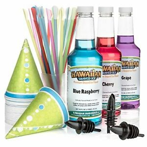 Hawaiian Shaved Ice 3 Flavor Fun Pack Snow Cone Syrup Kit Features 25 Cone Cup