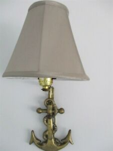 Vintage Tole Metal Nautical Brass Wash Ships Anchor W Gray Shade Wall Lamp Light