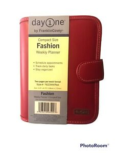 Franklin Covey Day One Planner Weekly Calendar Red Faux Leather Compact Size