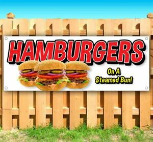 Hamburgers On A Steamed Bun Advertising Vinyl Banner Flag Sign Many Sizes Food